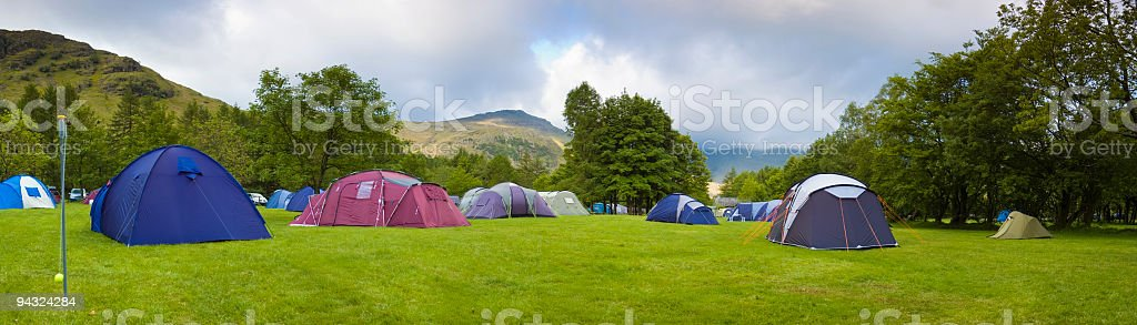 Campsite, tents, mountains royalty-free stock photo