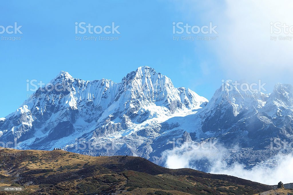 Campsite with tents on the top of high mountains stock photo