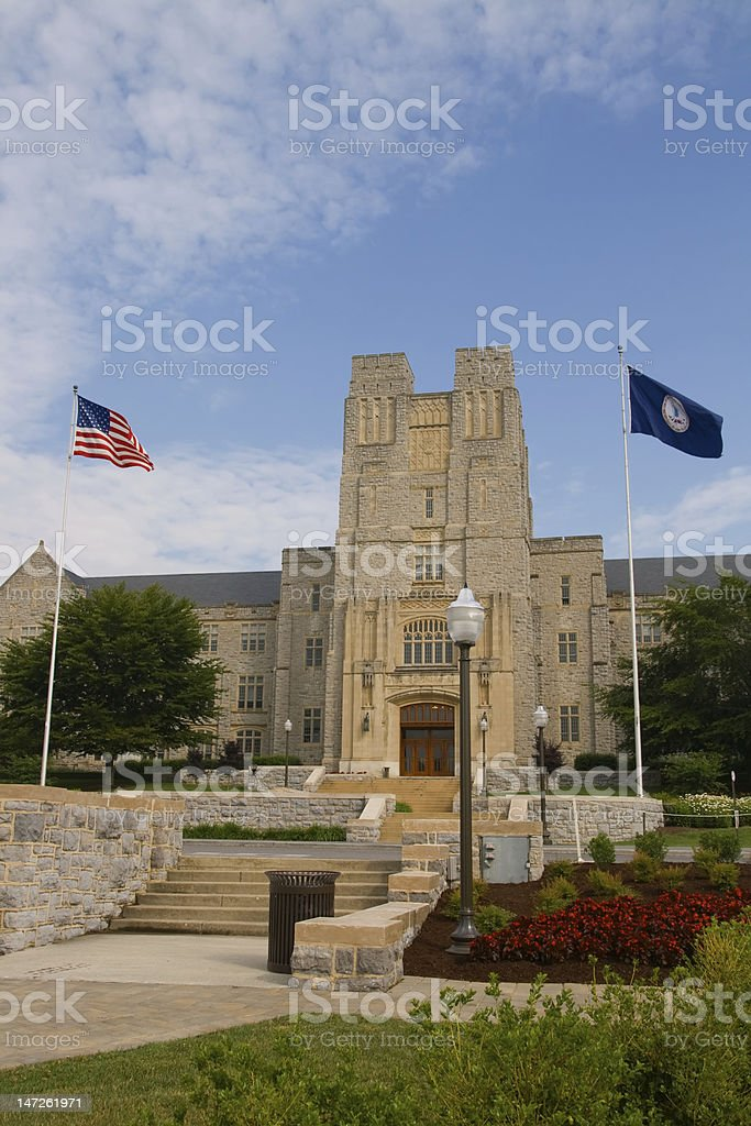 Campus Building with Flags stock photo