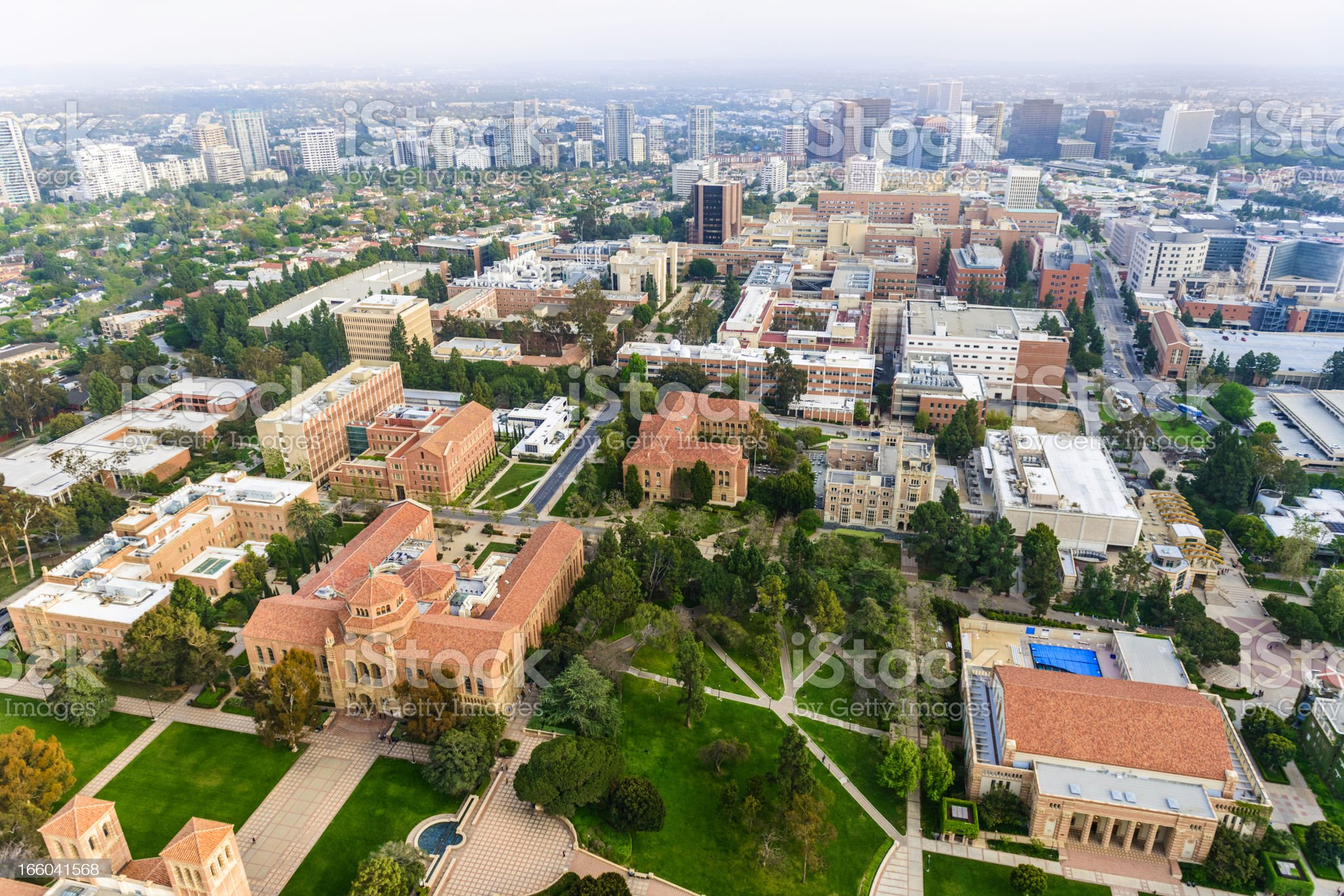 UCLA campus in Los Angeles, California - aerial view royalty-free stock photo