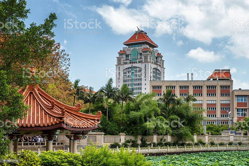 Campus of chinese modern university stock photo