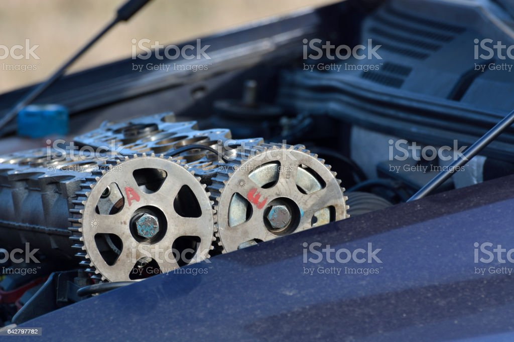 camshafts with wheels stock photo
