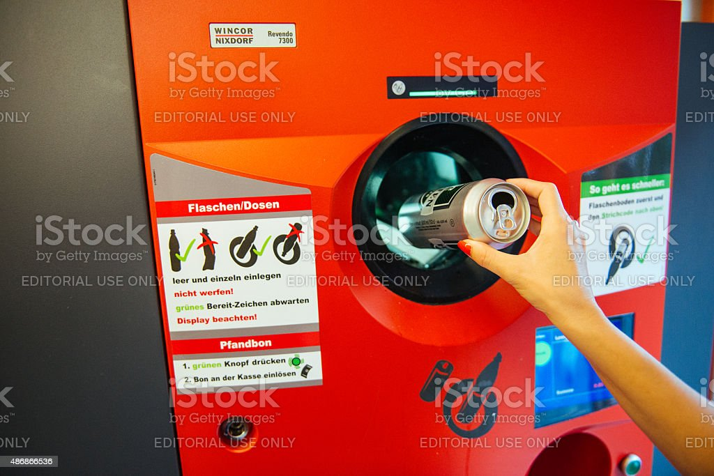 Can and plastic recycling in Germany stock photo