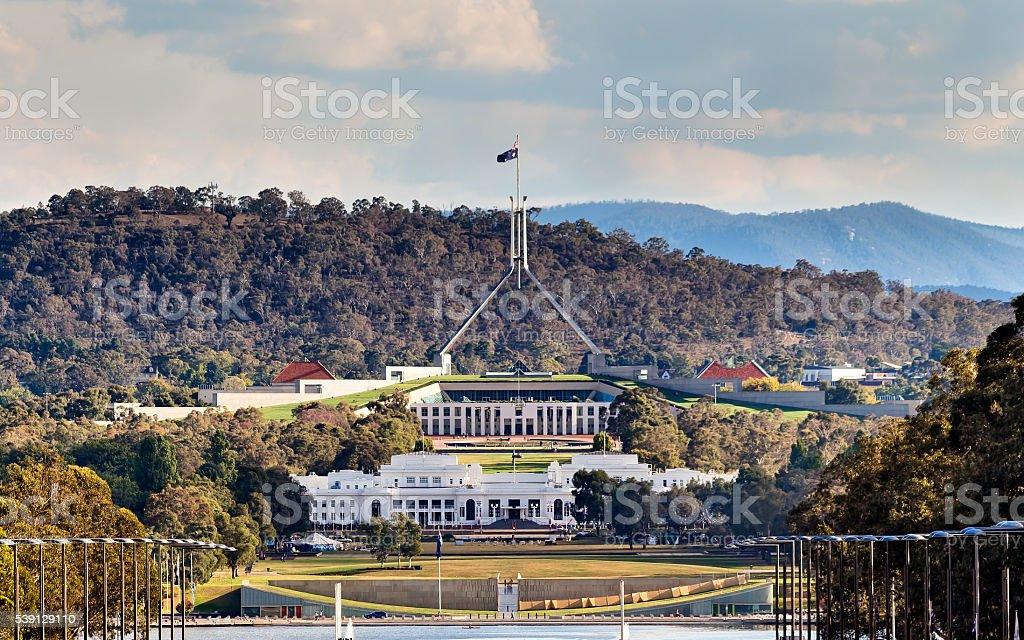 Can ANZAC Parade 2 Parliaments close stock photo