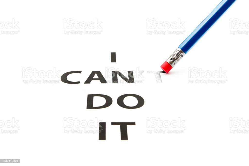 I can do it. Concept of self belief, motivation and positive attitude. stock photo