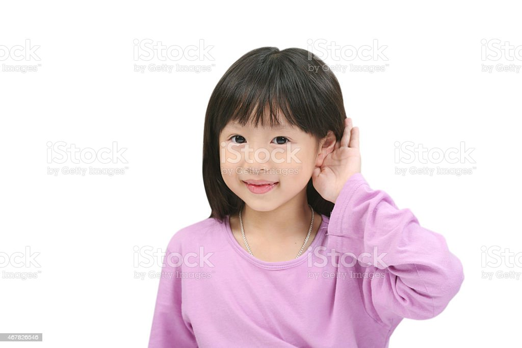 I can hear something. stock photo