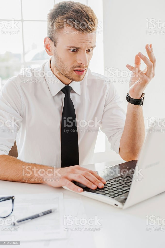 I can not work such way! stock photo