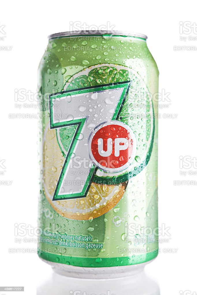 Can of 7 Up stock photo
