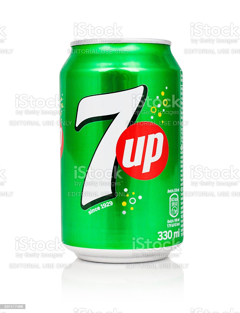 Can of 7UP stock photo