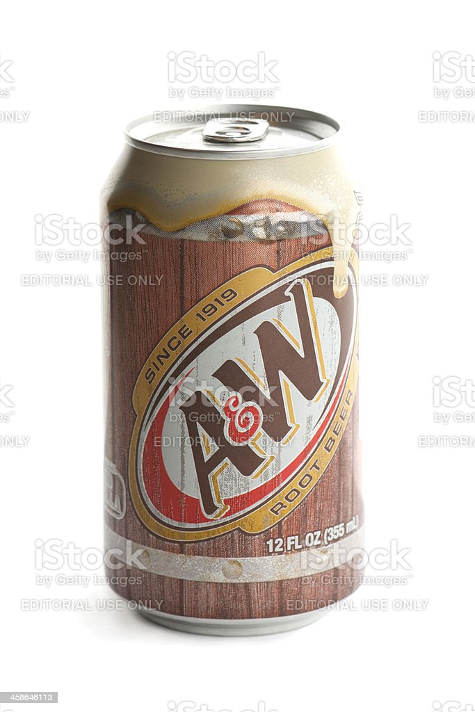 Can of A and W Rootbeer on white background stock photo
