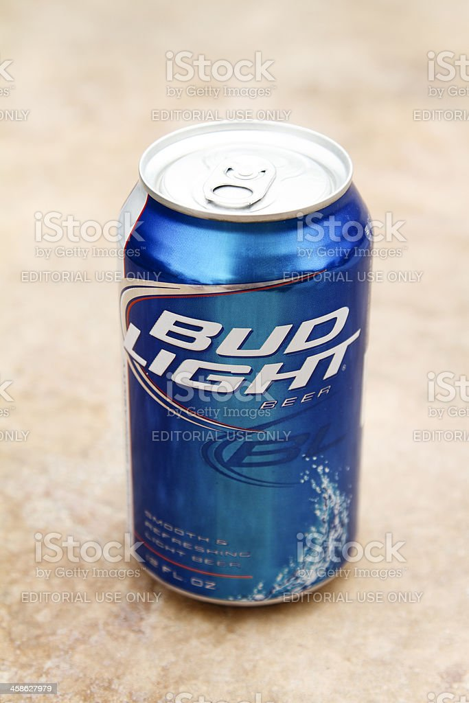 Can of Bud Light beer stock photo