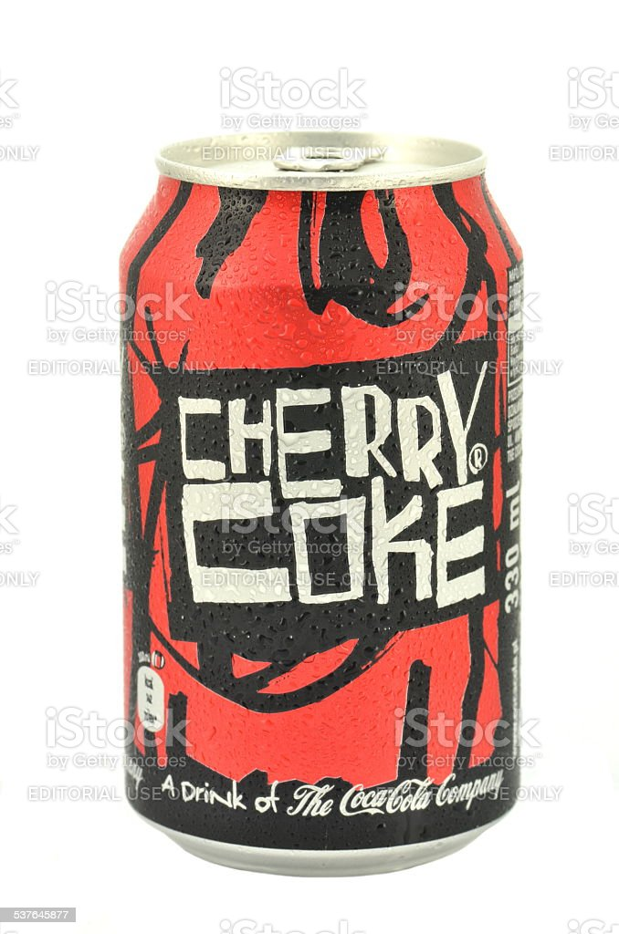 Can of Cherry Coke drink isolated on white stock photo
