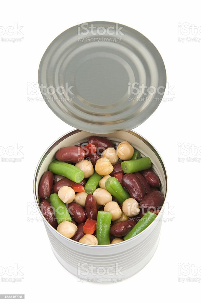 Can of mixed beans salad stock photo