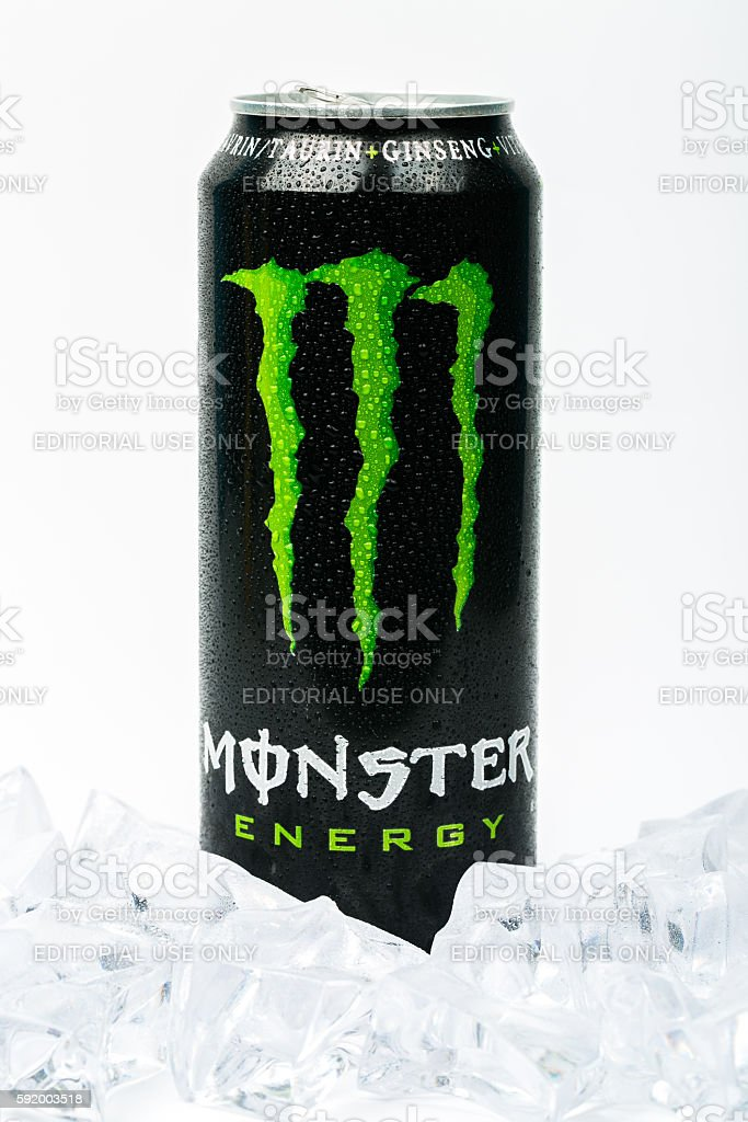 Can of Monster Energy Drink. Isolated on white background stock photo
