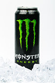 Can of Monster Energy Drink. Isolated on white background