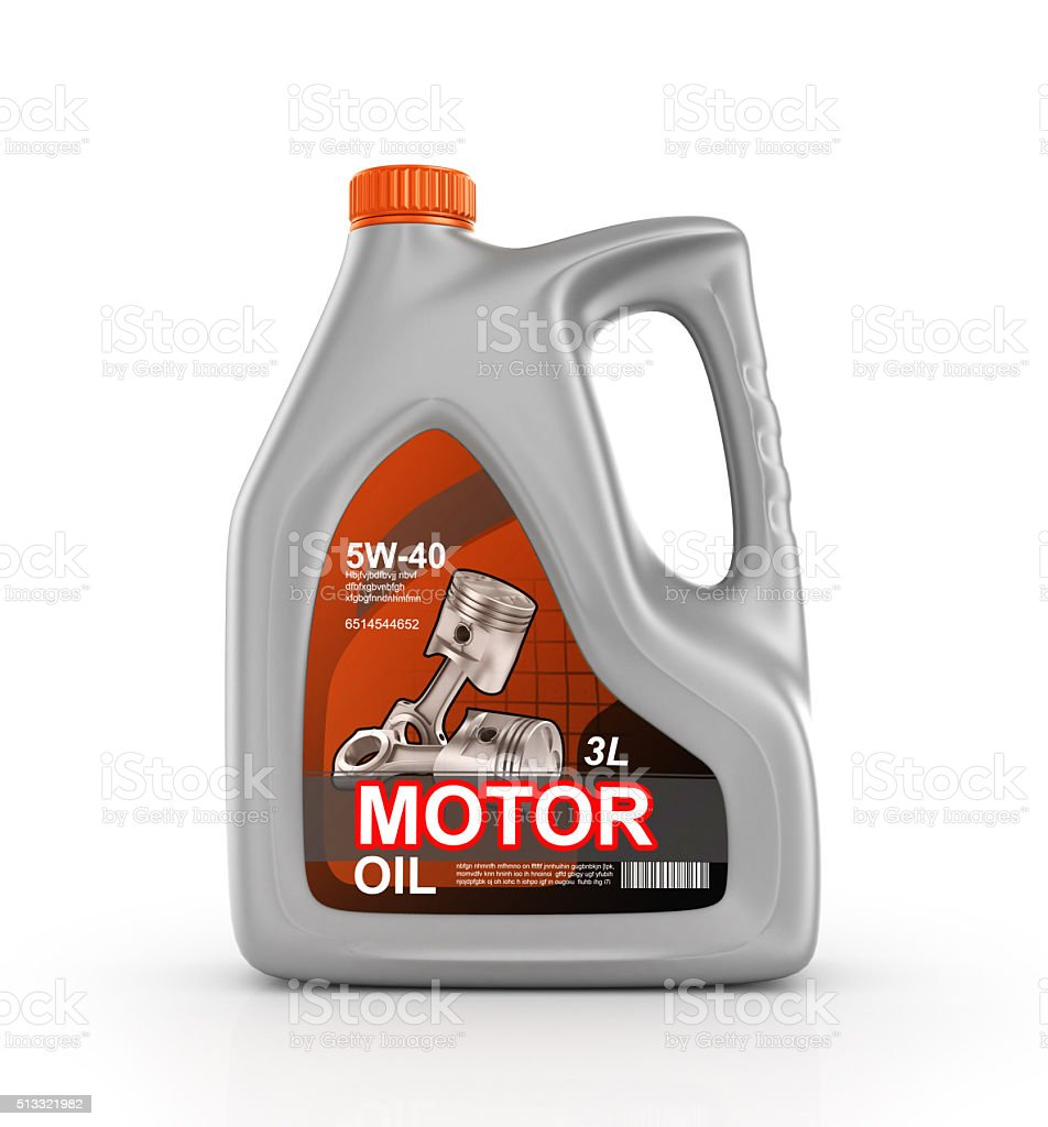 Can of motor oil stock photo