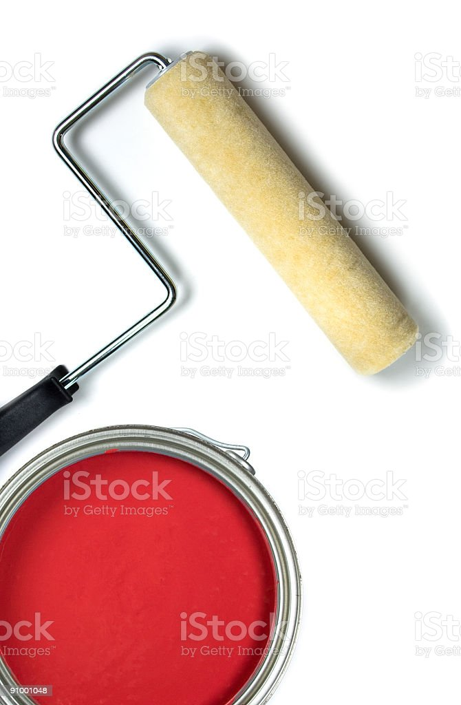 Can of Paint and Roller Isolated on White Background royalty-free stock photo