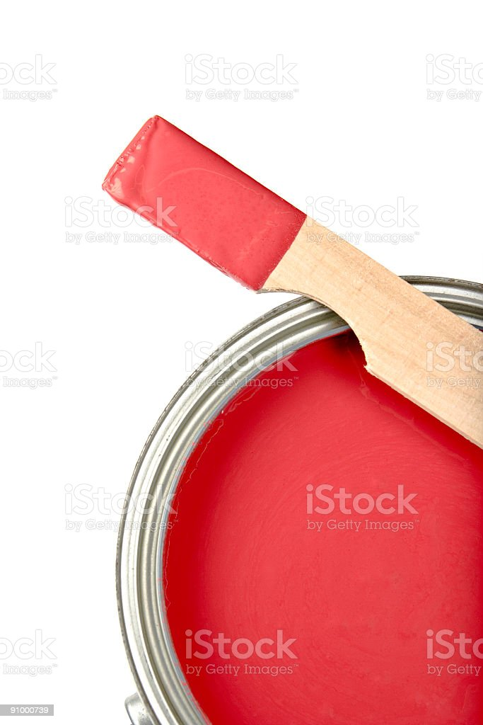 Can of Paint Stir Stick Sample Isolated on White stock photo