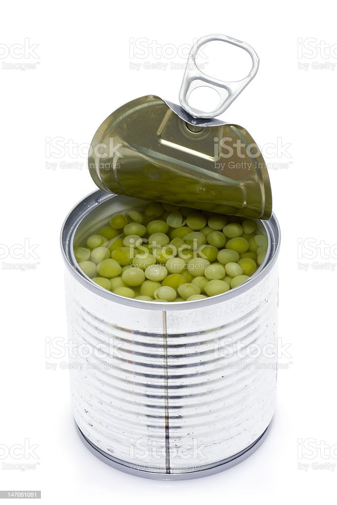 Can of peas stock photo