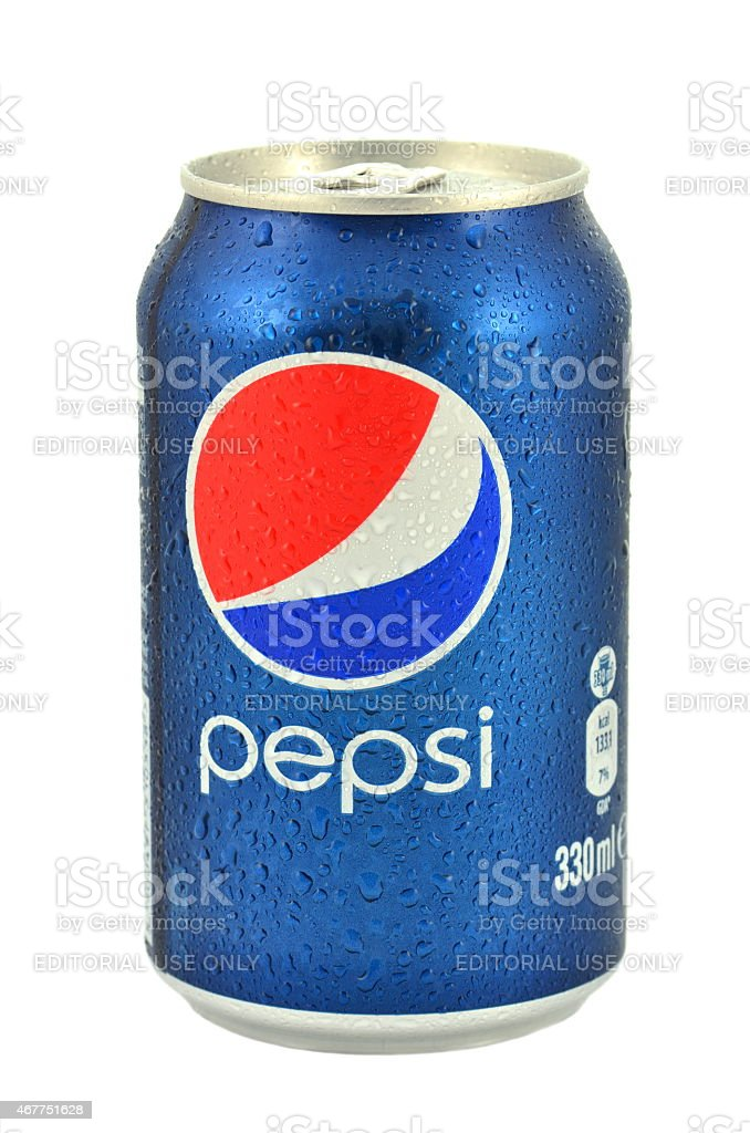 Can of Pepsi drink isolated on white background stock photo