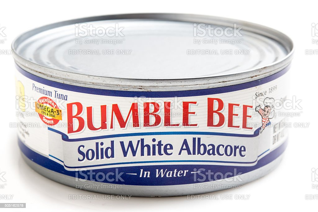 Can of Solid White Albacore in Water 'Bumble Bee' Brand stock photo