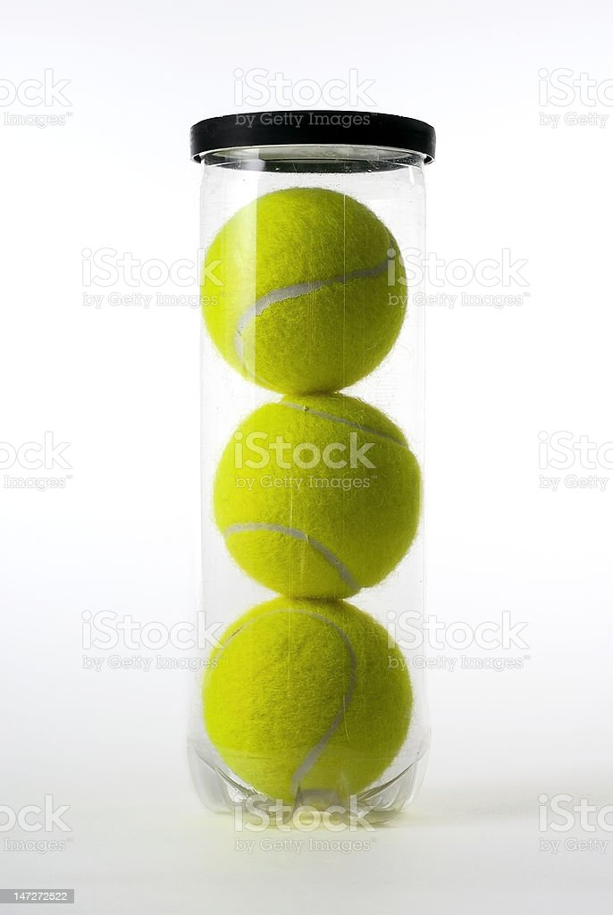 Can of Tennis balls stock photo
