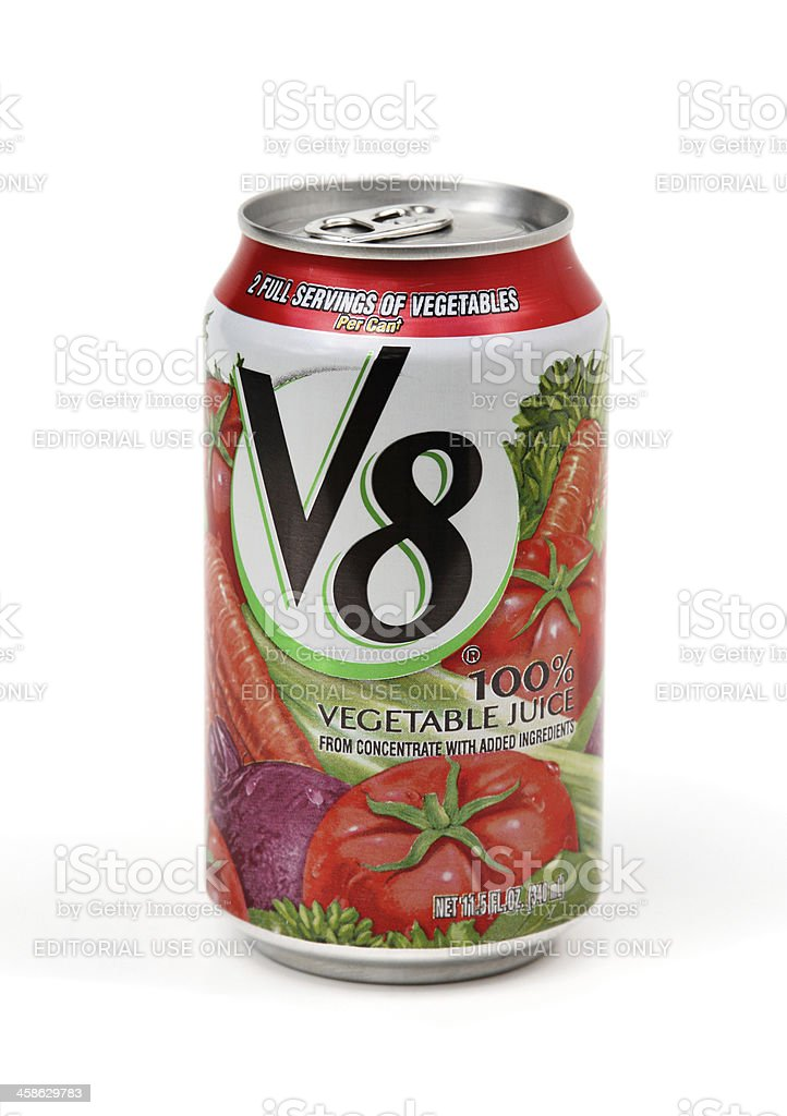 Can of V8 Vegetable Juice stock photo
