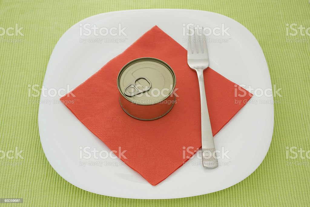 Can on plate stock photo