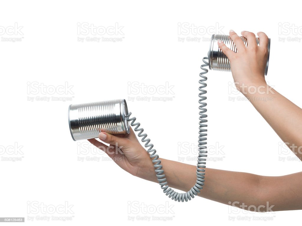 Can phone in human hand on white background for communication stock photo