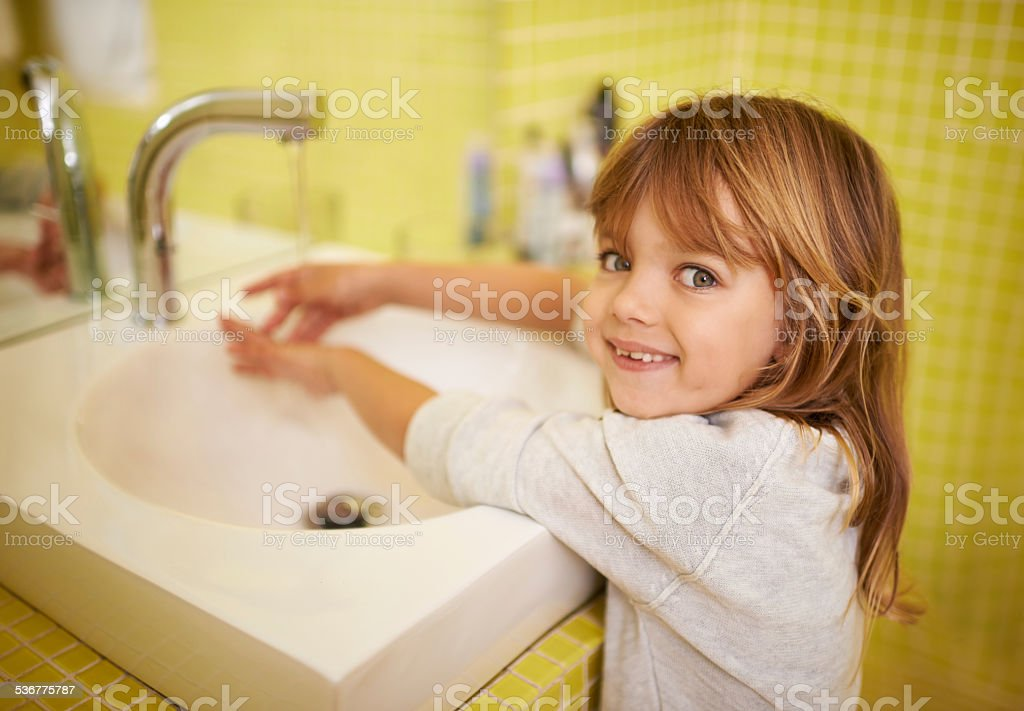 I can reach the tap now stock photo