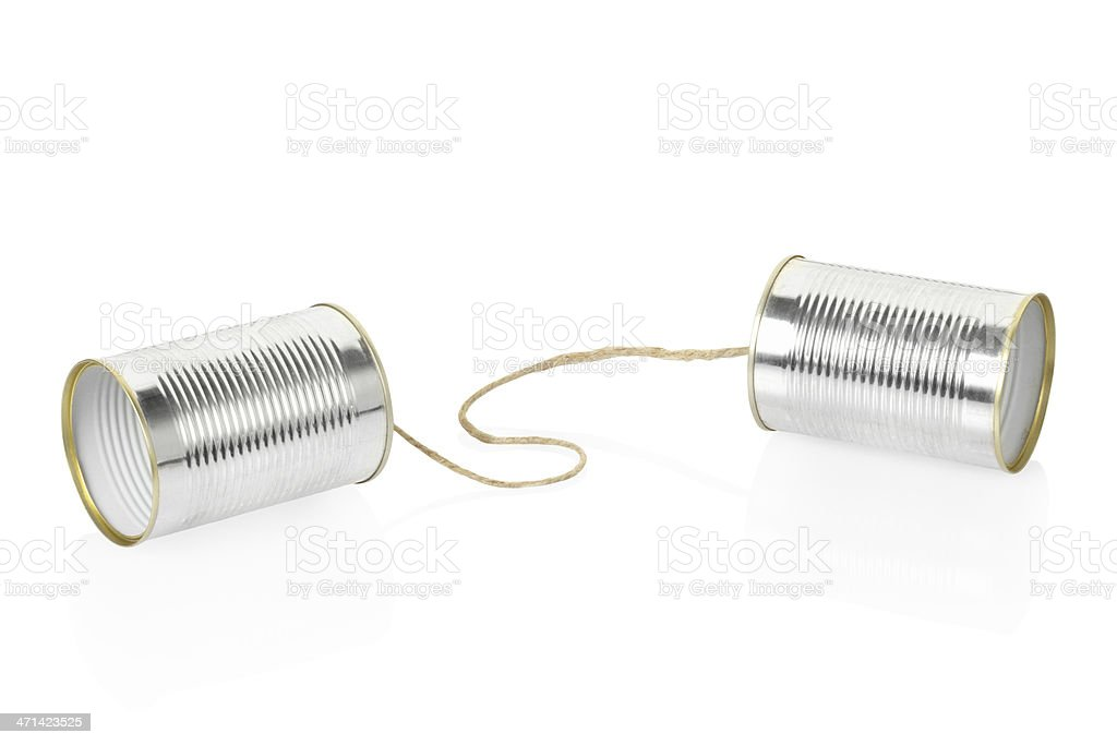 Can telephone isolated on white background stock photo