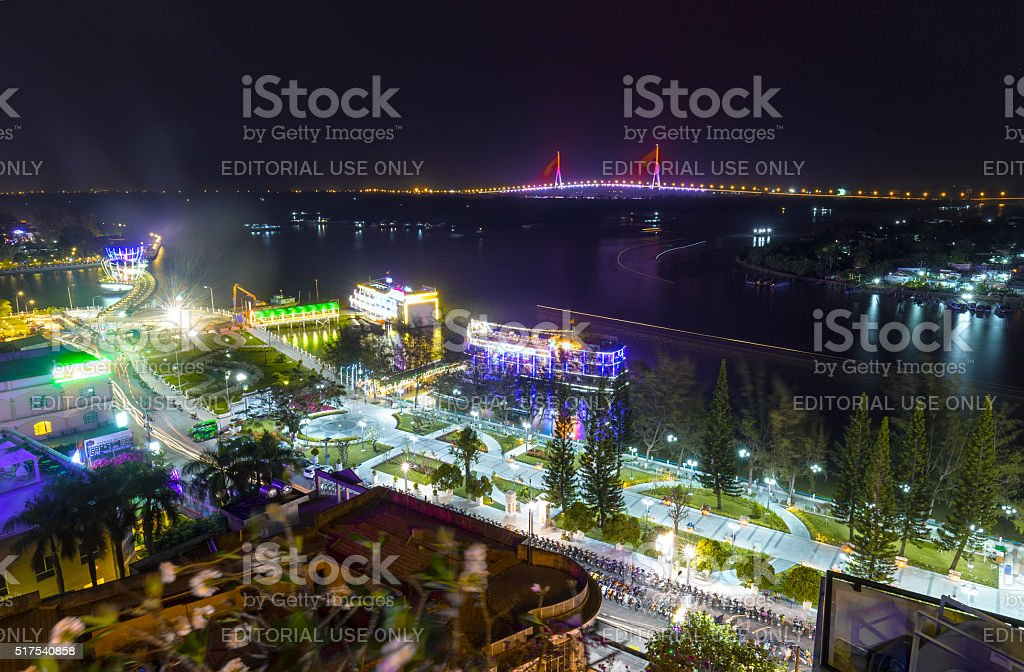 Can Tho city at night stock photo