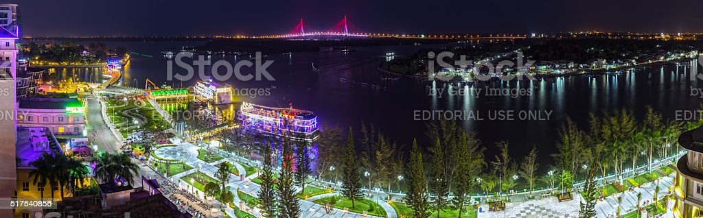 Can Tho city panorama at night stock photo