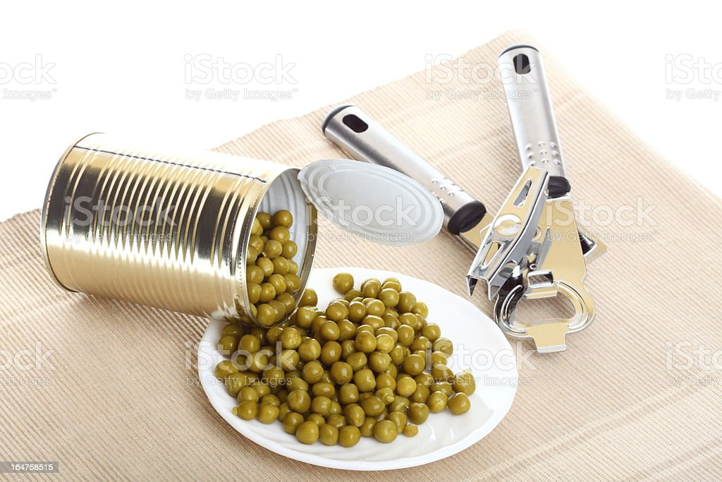 can with canned, tinned peas, royalty-free stock photo