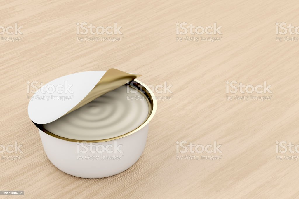 Can with cream cheese, butter or margarine stock photo