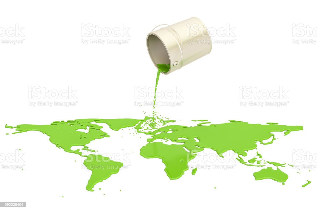 Can with green paint spilled on the map Earth, 3D rendering stock photo