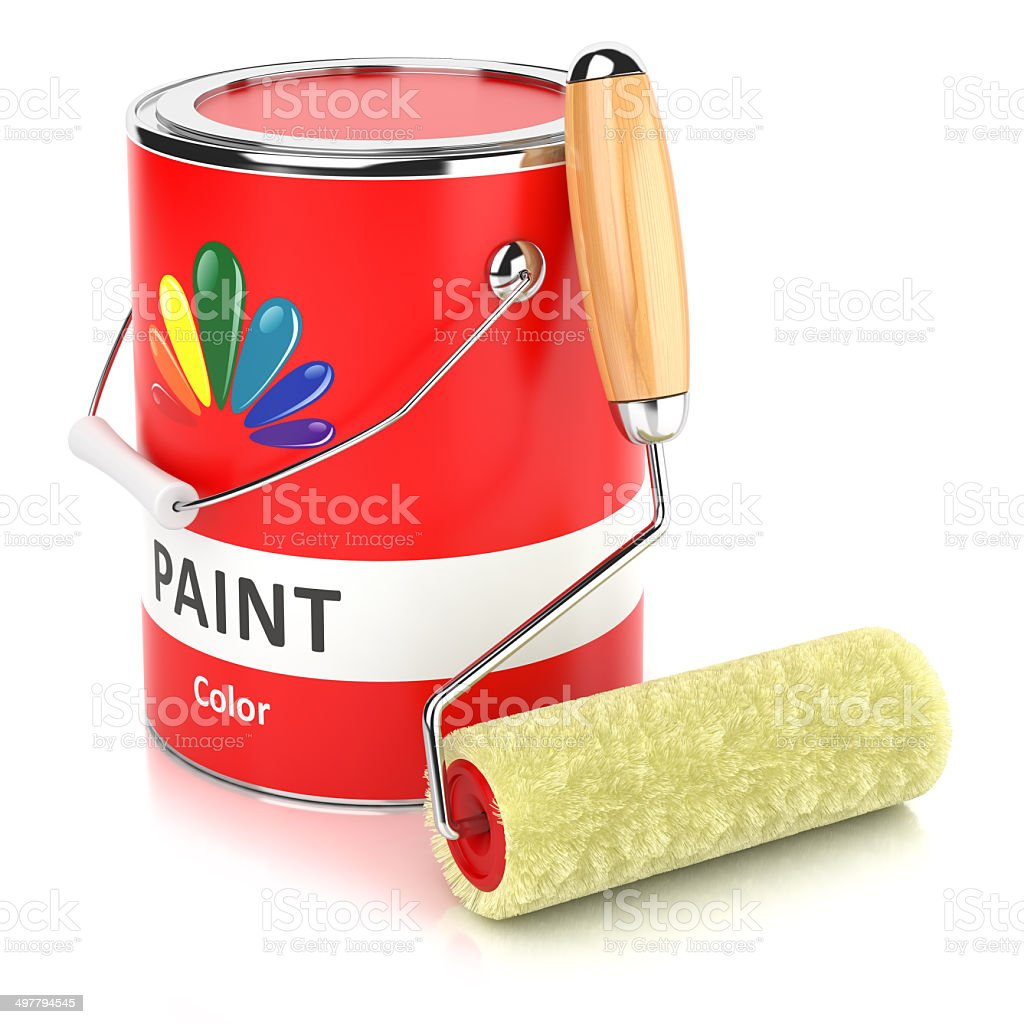 Can with print and roller paintbrush stock photo