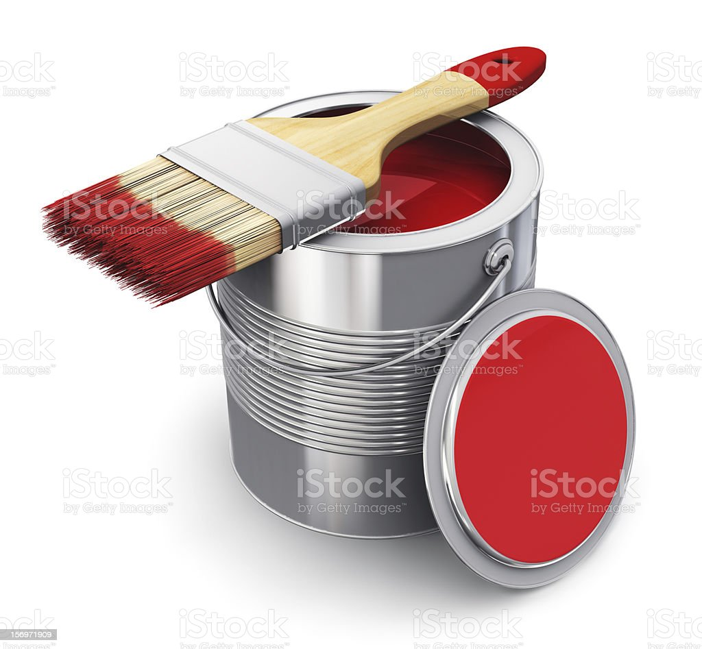 Can with red paint and paintbrush stock photo