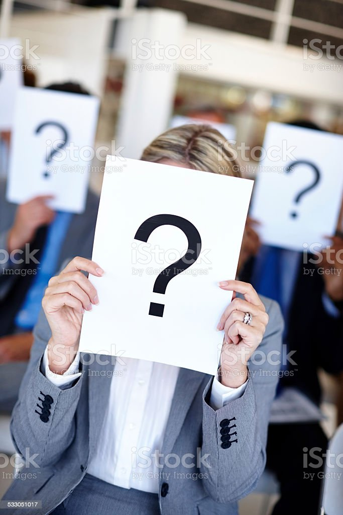 Can you answer our questions? stock photo