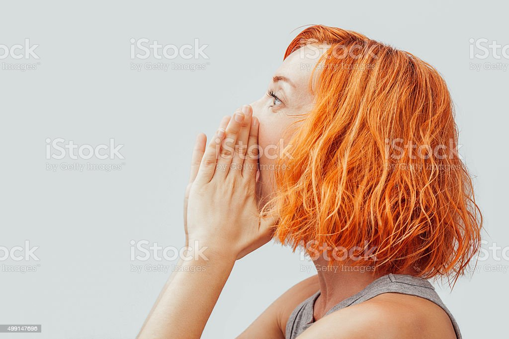 Can you here me ? stock photo
