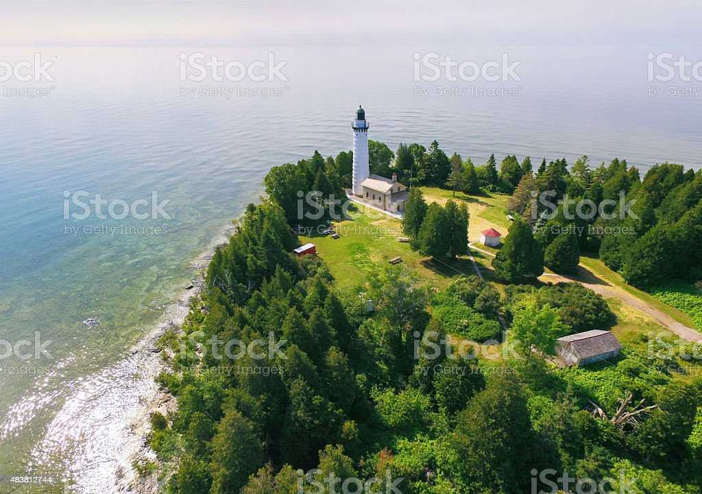 Cana Island Lighthouse on Lake Michigan, Door County Wisconsin stock photo