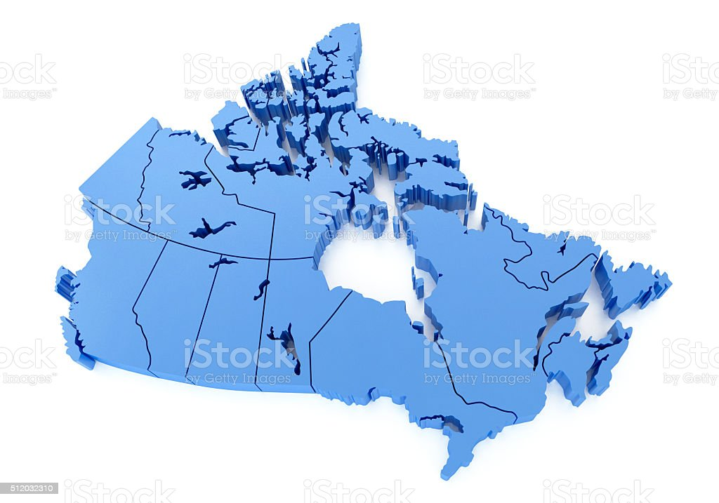 Canada 3D Map stock photo
