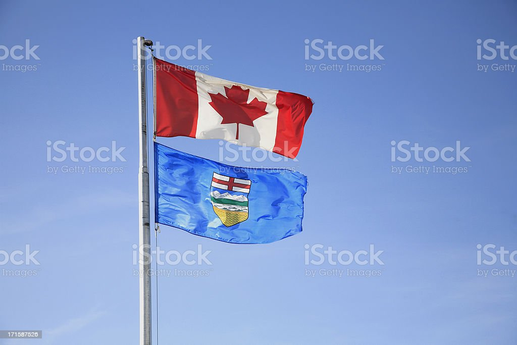 Canada And Alberta Flags stock photo