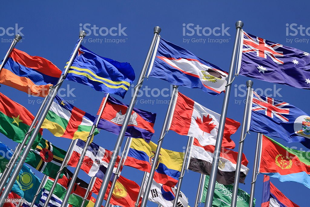 Canada and British Commonwealth  flags stock photo