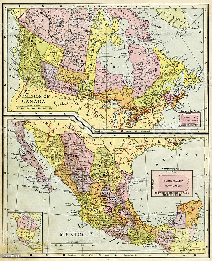 Canada And Mexico Map 1896 stock photo
