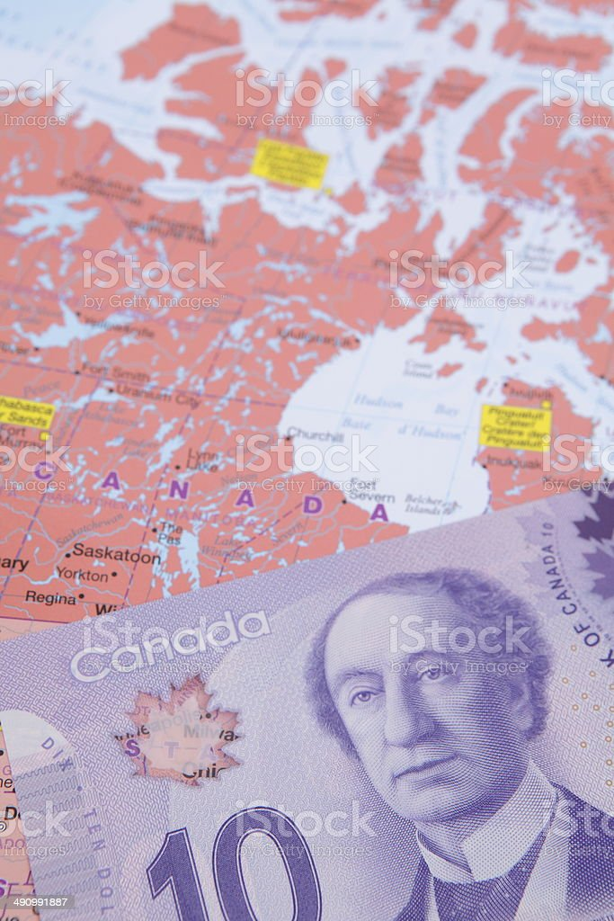 Canada and Ten Dollar Note stock photo