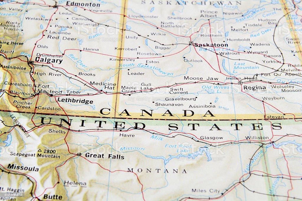 Canada and USA border stock photo