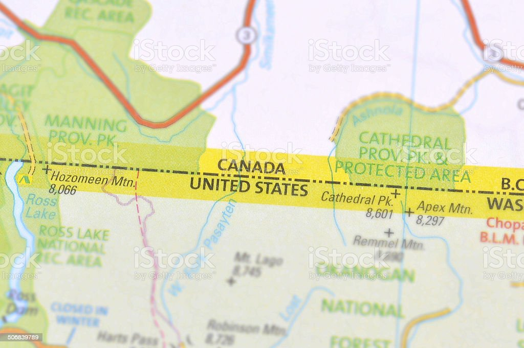 Canada and U.S.A border stock photo