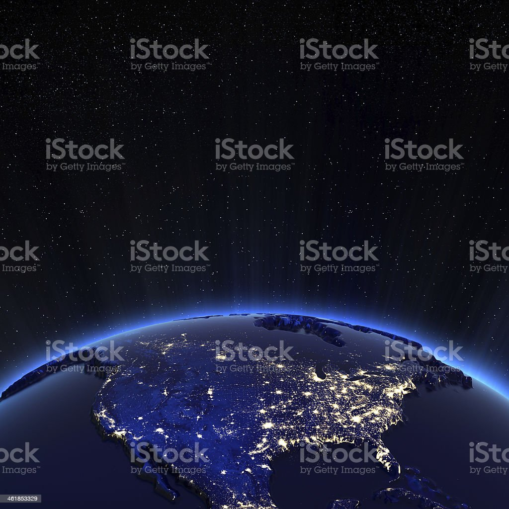 Canada and USA city lights at night stock photo