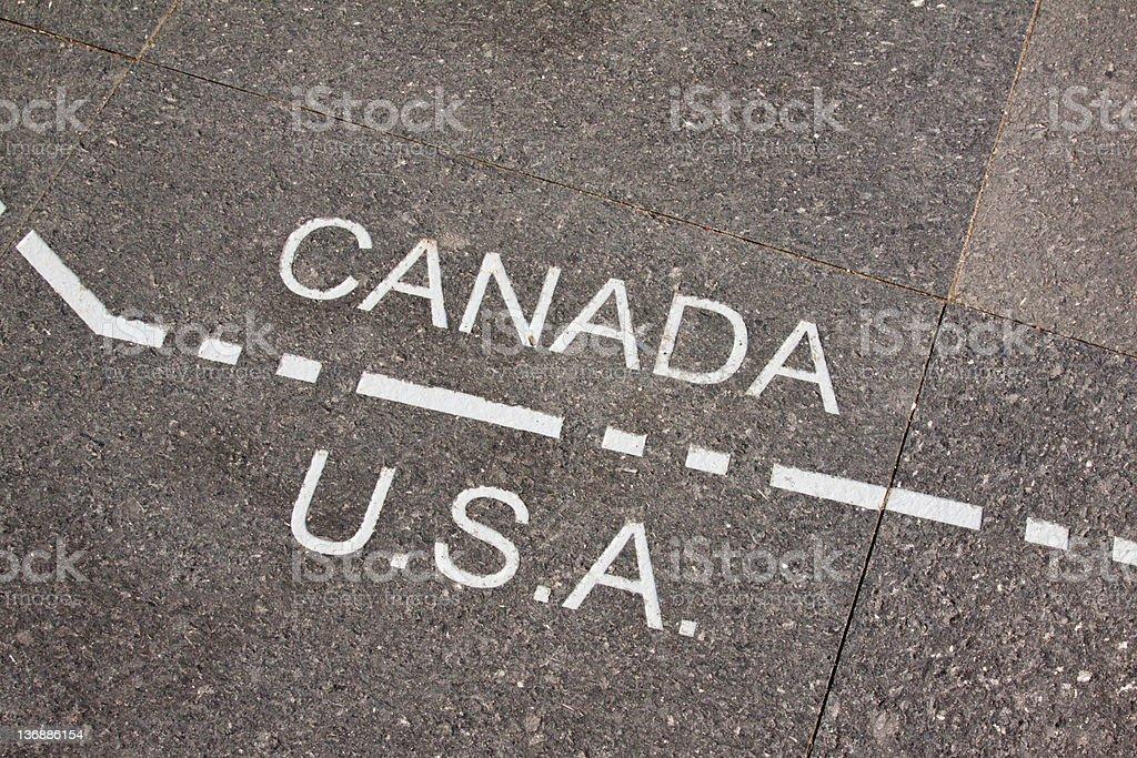 Canada and USA dividing line stock photo